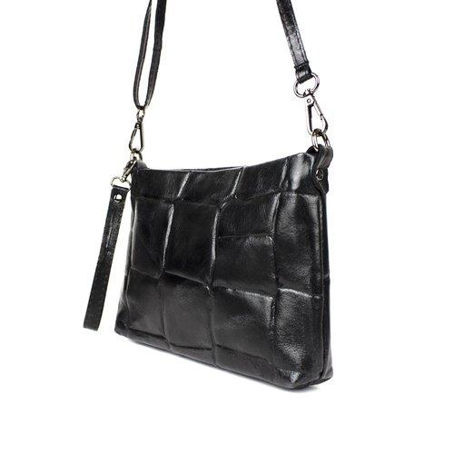 Zwart schoudertasje van leer met een blokreliëf