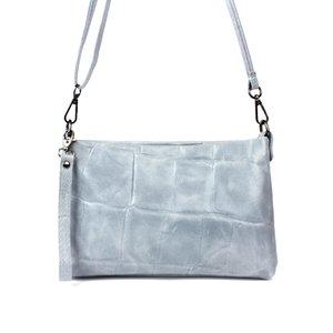 Grijsblauw schoudertasje met blokreliëf
