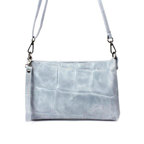 Grijsblauw schoudertasje van leer met een blokreliëf