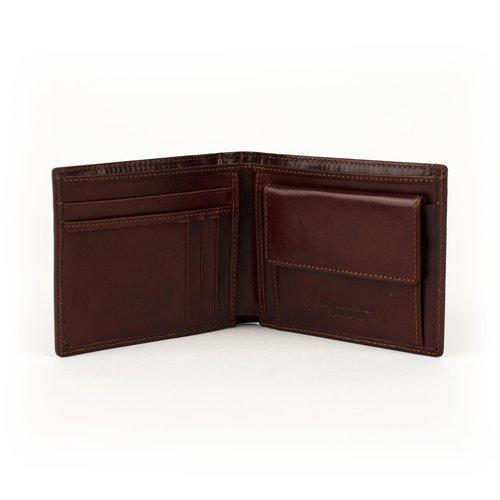 Leren heren portemonnee kastanjebruin