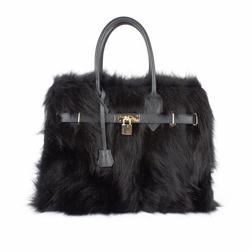 Zwarte handtas met zwart bont