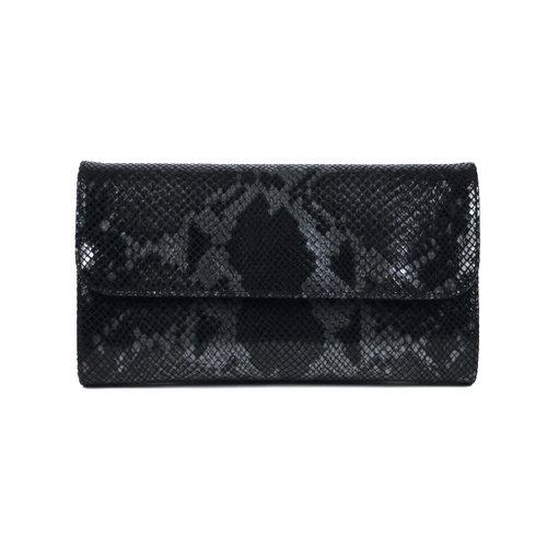 Zwarte clutch met glanzend slangendessin