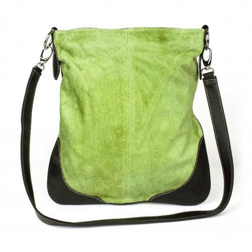 Platte groene suède schoudertas