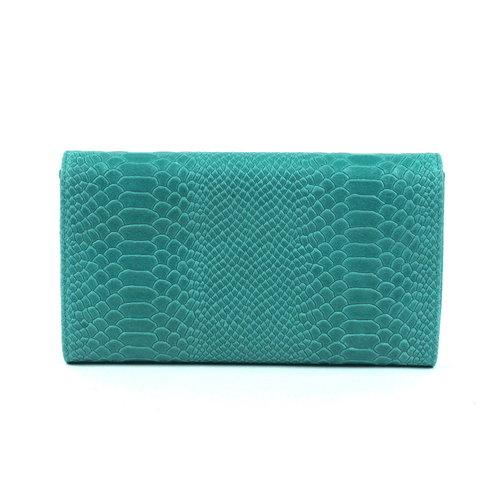 Turquoise clutch van leer met slangenreliëf