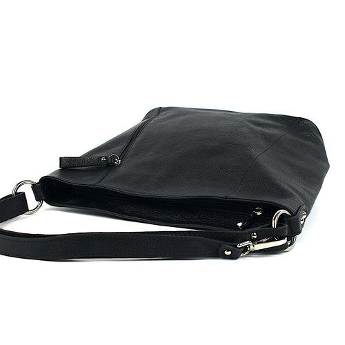 Zwarte leren schoudertas met verticale rits