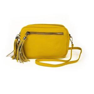 Leren schoudertasje met flosjes, geel
