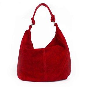 Suède shopper rood