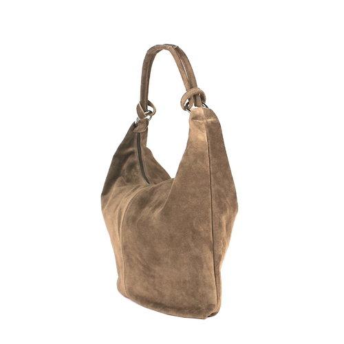 Suède hobo shopper in bruine taupe