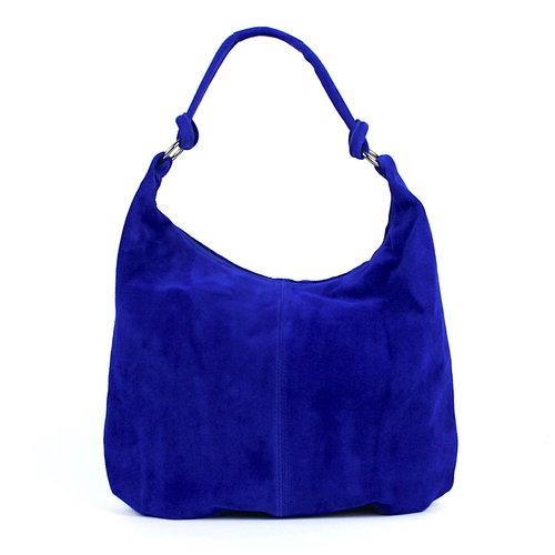 Suède shopper kobaltblauw