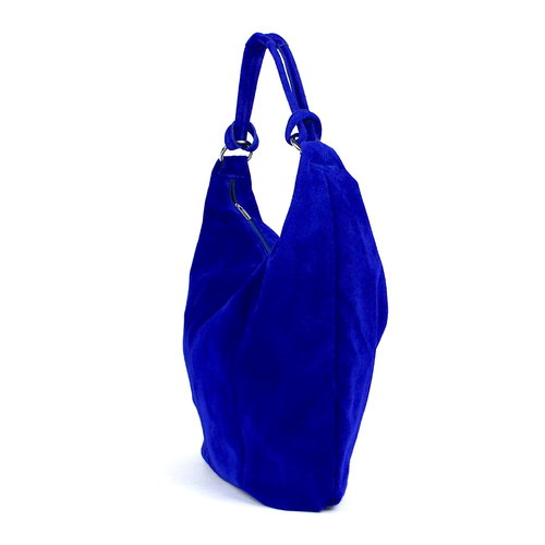 Suède hobo shopper in kobaltblauw