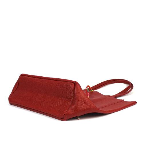 Rode leren shopper / schoudertas met veter