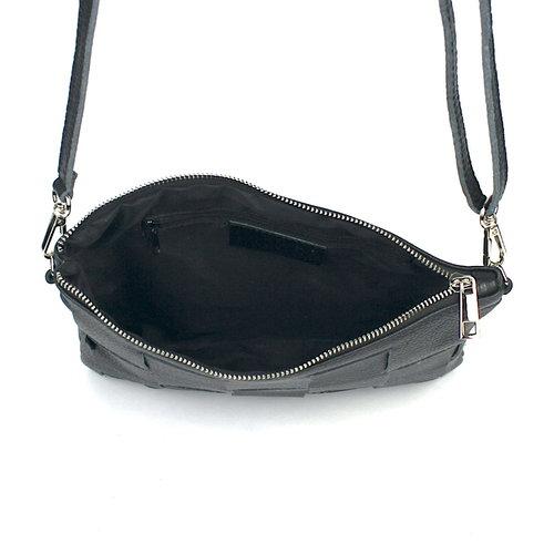 Schoudertasje van gevlochten zwart leer