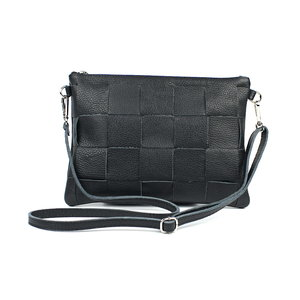 Gevlochten schoudertasje zwart