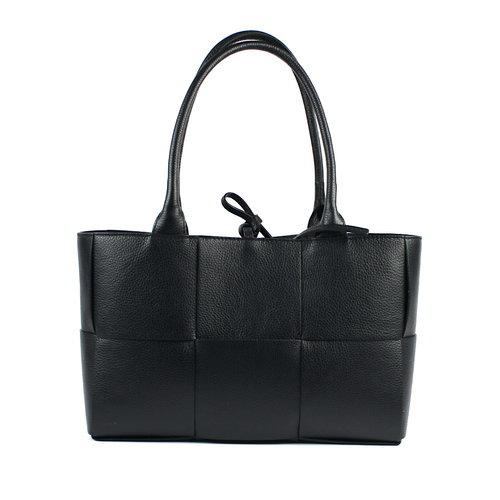 Gevlochten rechthoekige tas, zwart