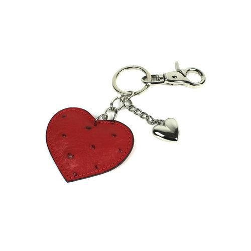 Sleutelhanger met rood leren hart