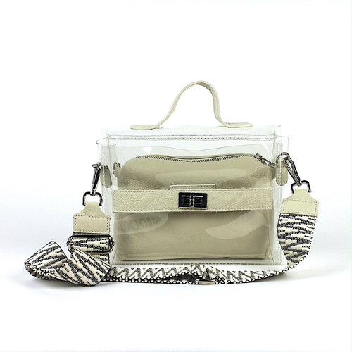 Transparante tas met beige leren 'bag in bag'