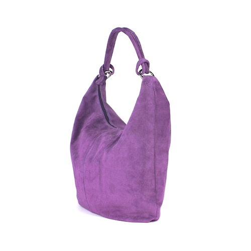 Suède hobo shopper in lila: B-keus