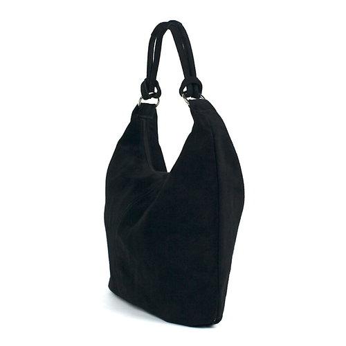 Suède hobo shopper in zwart: B-keus
