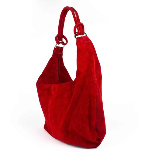 Suède hobo shopper in rood: B-keus
