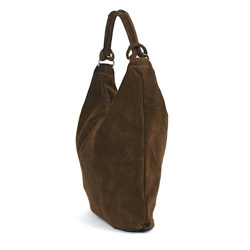 Suède hobo shopper in bruin: B-keus