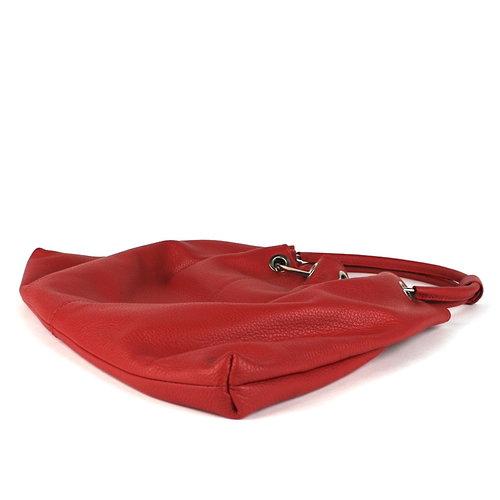 Leren beugelgreep tas rood