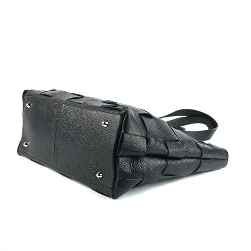 Gevlochten leren schoudertas/ handtas zwart