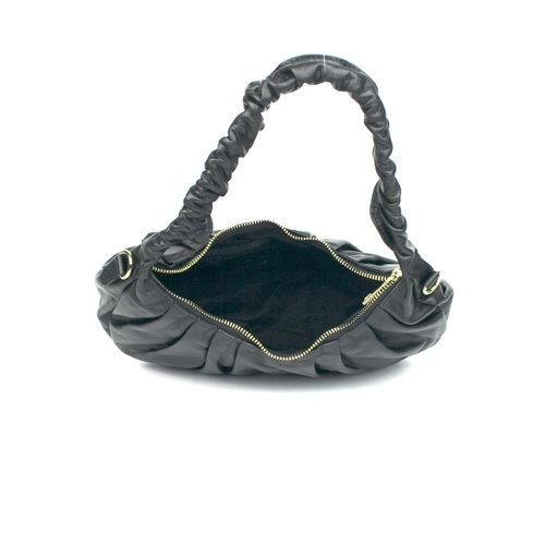 Geplooide zwarte leren tas