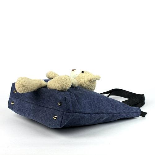 Blauwe totebag met beer en leren hengsels