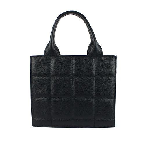 Zwarte leren handtas geblokt M