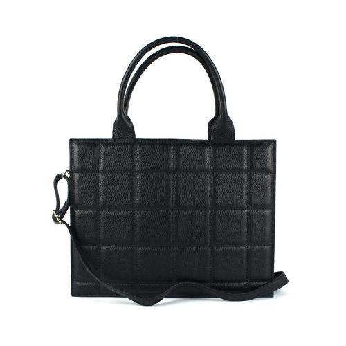 Zwarte handtas geblokt L