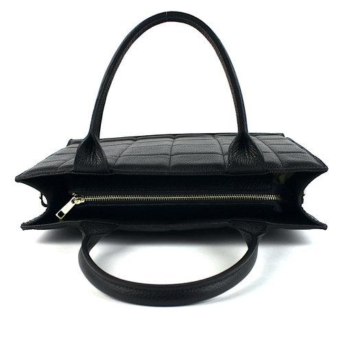 Zwarte leren handtas geblokt L
