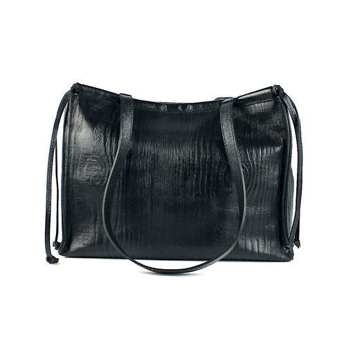 Metallic zwarte schoudertas