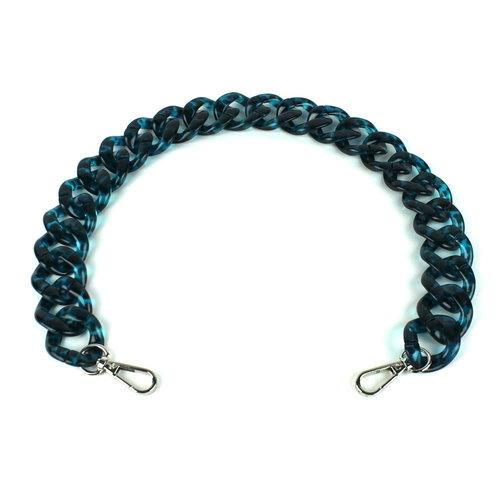 Acryl ketting 60 cm, luipaard blauw