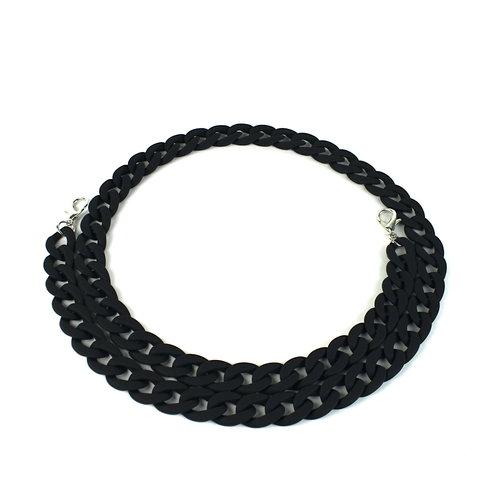 Acryl ketting 120 cm, mat zwart