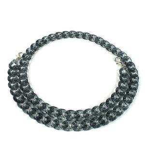 Acryl ketting 120 cm, transparant zwart