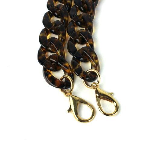Acryl ketting 120 cm, luipaard bruin
