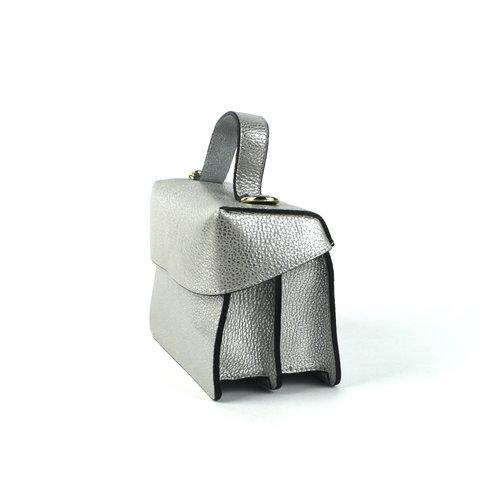 Leren koffertasje zilver