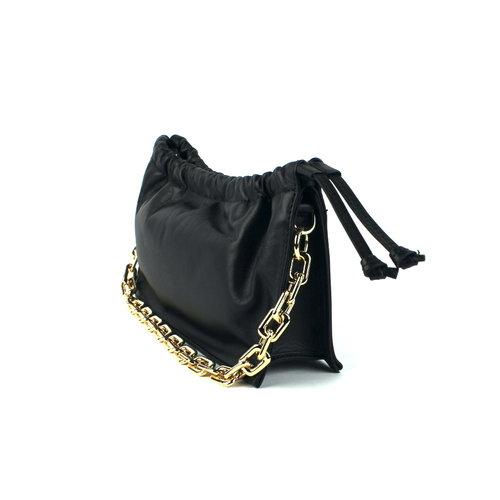 Zwart leren schoudertasje met ketting
