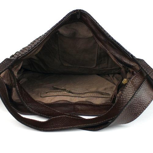 Bruine gevlochten schoudertas - rugtas