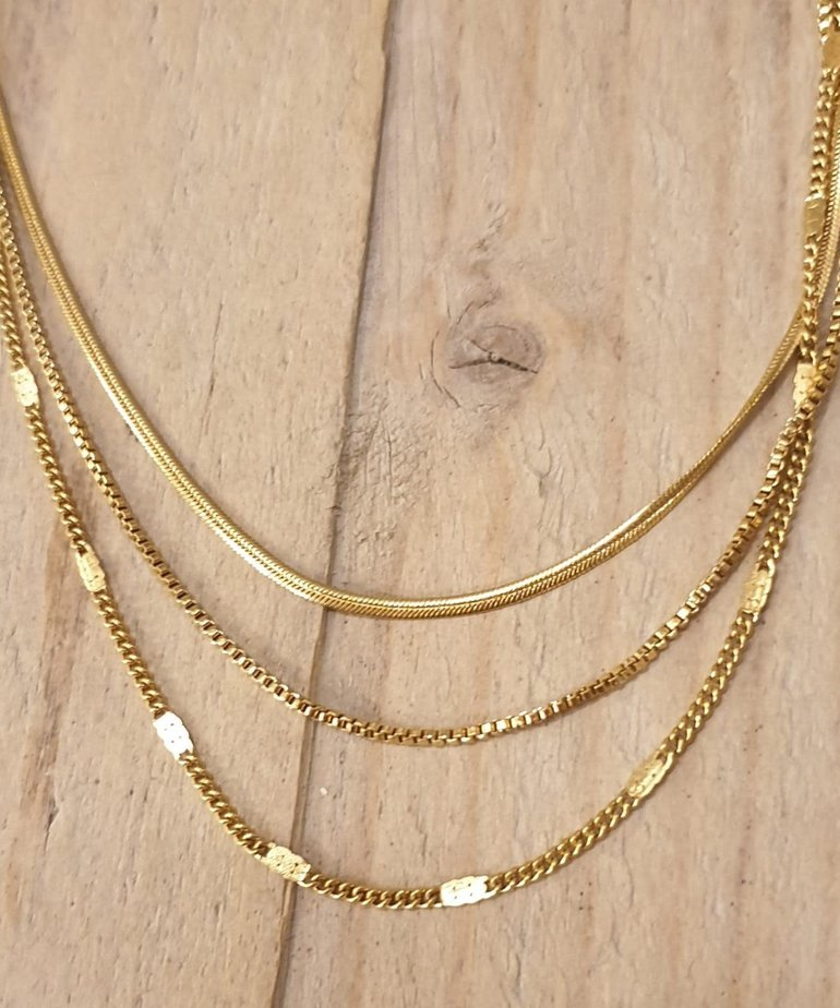 Zag Bijoux Zag Triple Gouden Kettingen