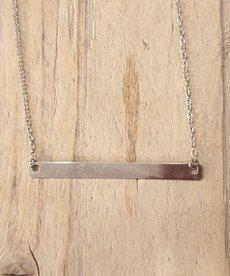 Zag Bijoux Zag Ketting Zilveren Plaatje