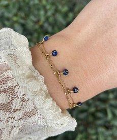 Zag Bijoux Zag Bijoux Armband Goud met Blauwe Steentjes