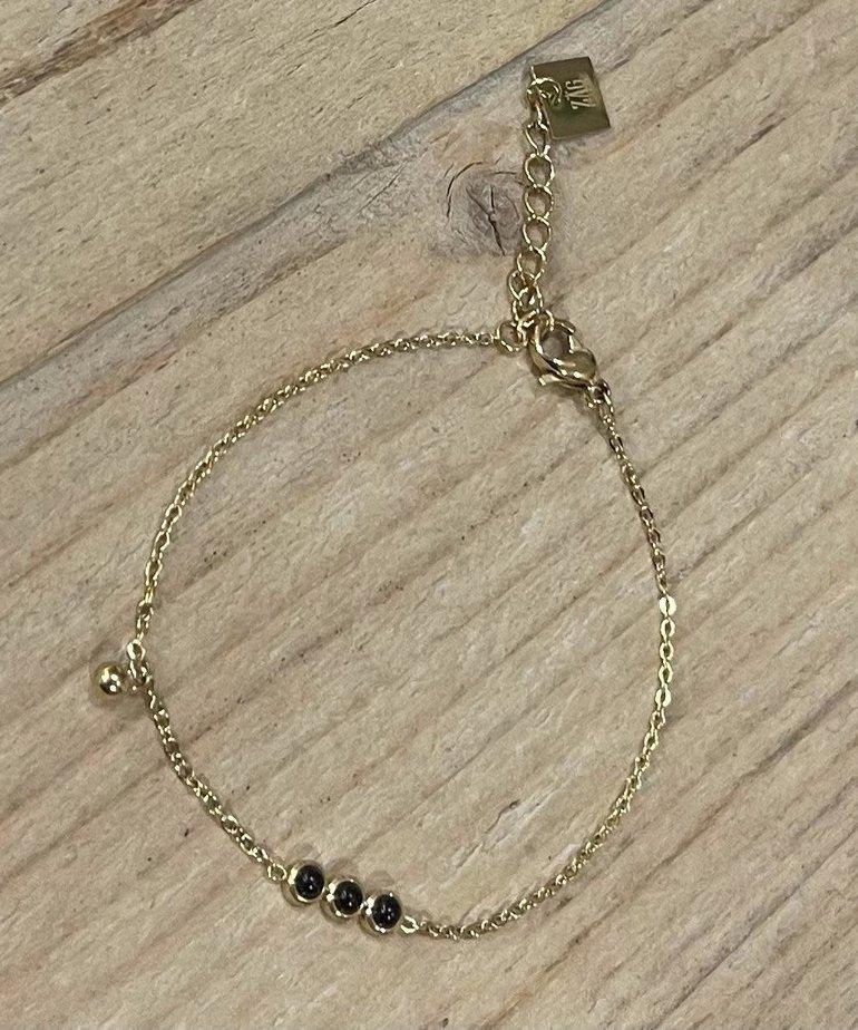 Zag Bijoux Armband Triple Black Stone