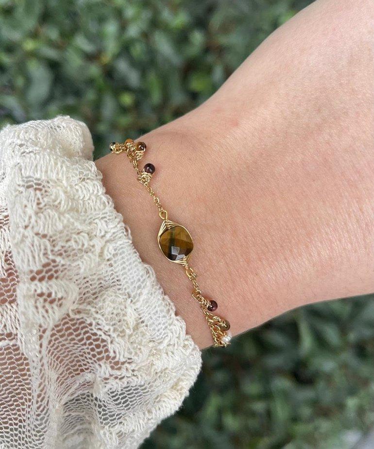 Zag Bijoux Zag Bijoux Armband Goud met Bruine Steentjes
