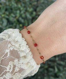 Zag Bijoux Zag Bijoux Armband Goud met Rode Steentjes