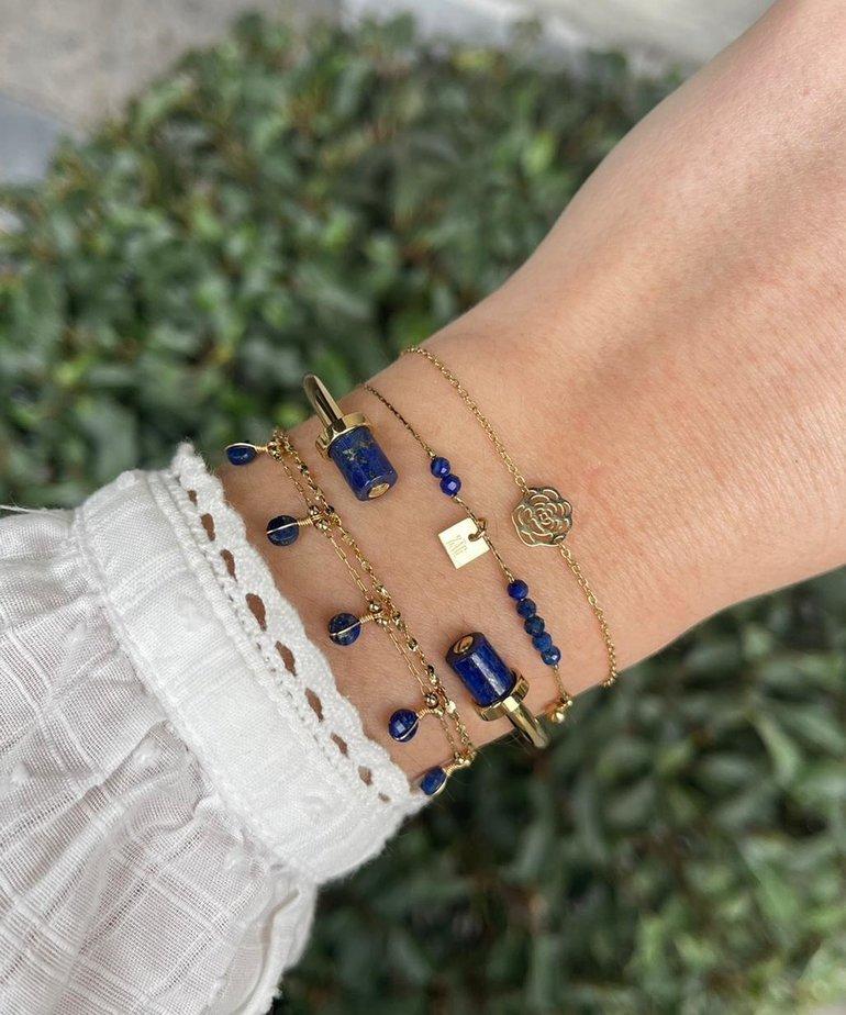 Zag Bijoux Zag Bijoux Armband Goud Open met Blauwe Stenen