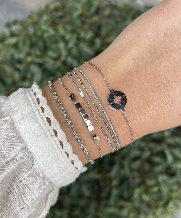 Zag Bijoux Zag Bijoux Armband Zilver Blokjes