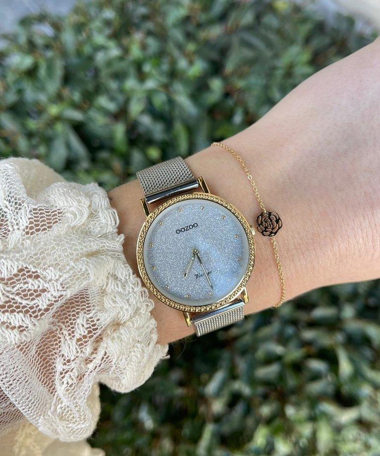 Oozoo Timepieces Oozoo Horloge C20053 Zilver Goud