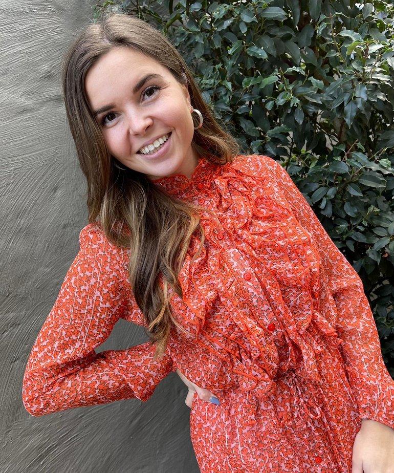 Saint Tropez Saint Tropez Xelina Lilly Dress - Red Orange Puff