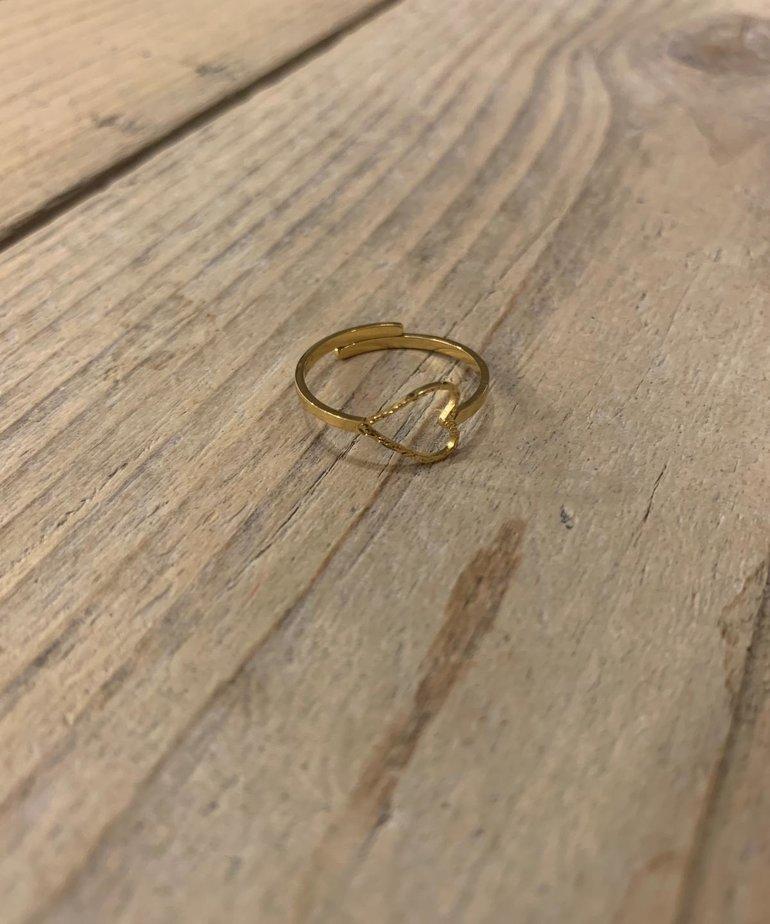 Zusss Zuss Ring Hartje - Goud